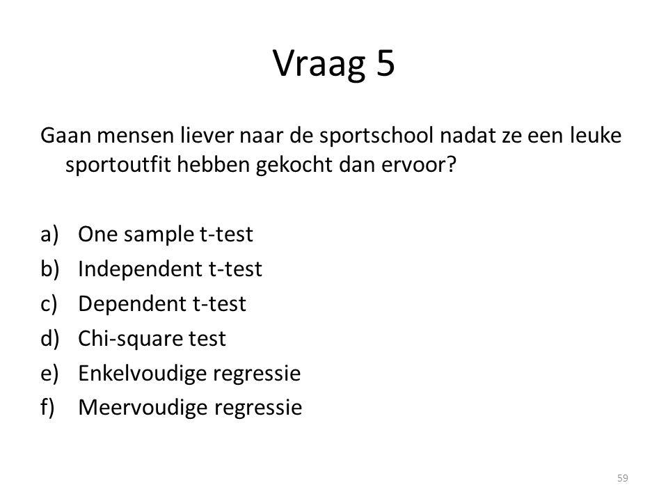 Vraag 5 Gaan mensen liever naar de sportschool nadat ze een leuke sportoutfit hebben gekocht dan ervoor? a)One sample t-test b)Independent t-test c)De