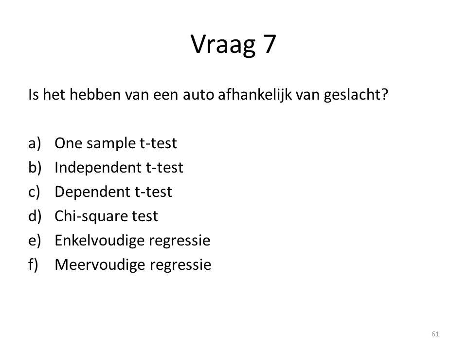 Vraag 7 Is het hebben van een auto afhankelijk van geslacht? a)One sample t-test b)Independent t-test c)Dependent t-test d)Chi-square test e)Enkelvoud