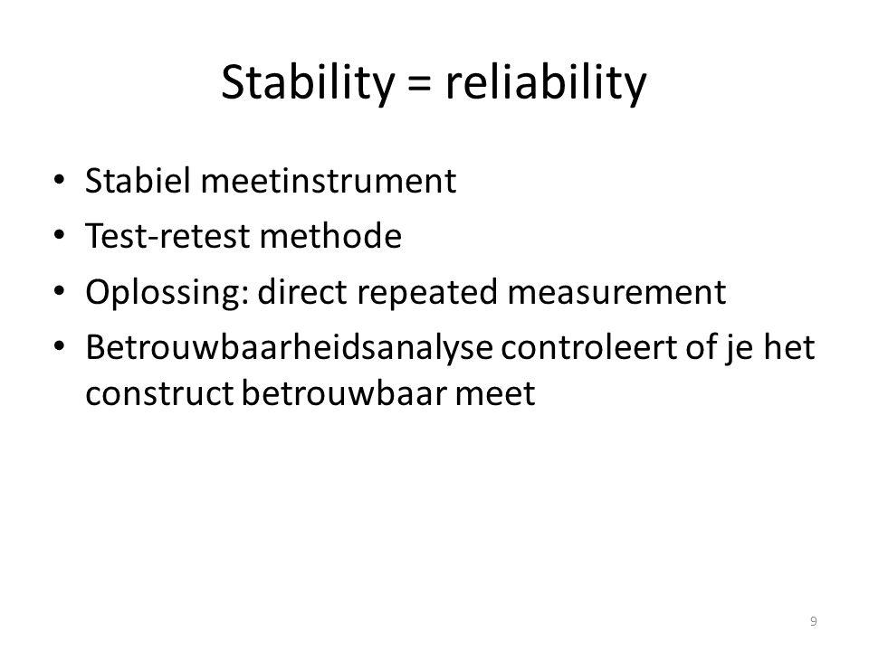 Stappenplan betrouwbaarheidsanalyse 1.Bekijk Cronbach's alfa (nadat je hebt gecheckt of je schaal eendimensionaal is en alle vragen in dezelfde richting staan) 2.Beslis of je items weg moet laten.