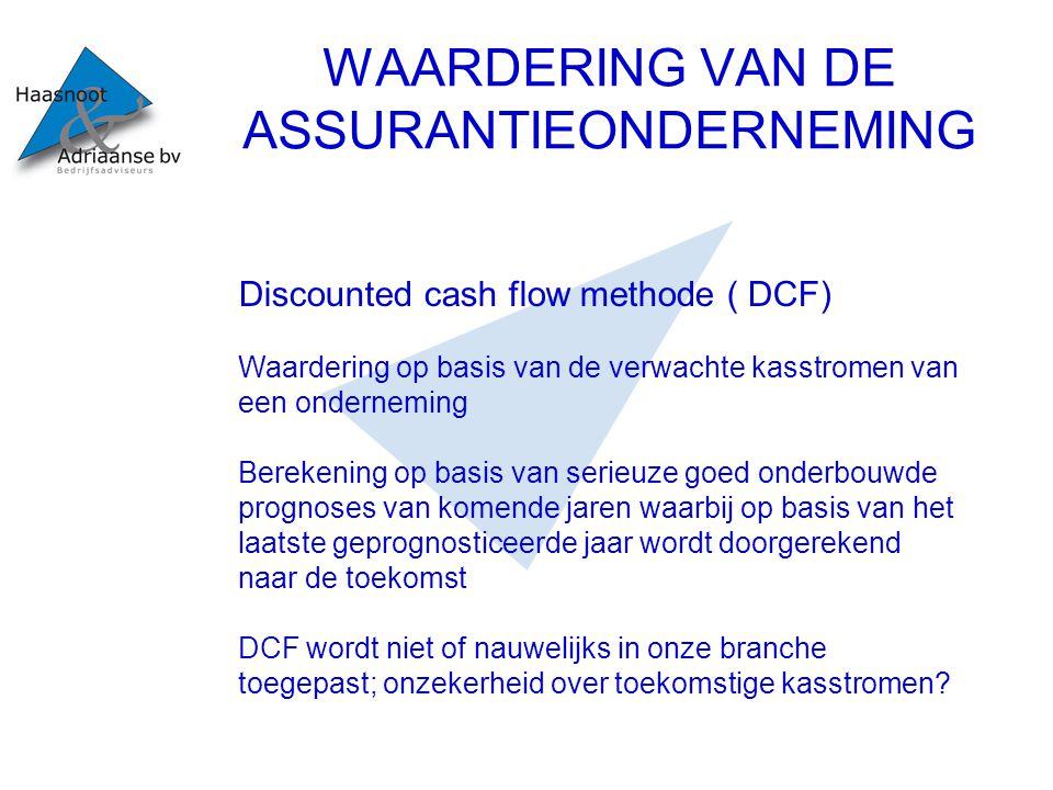 WAARDERING VAN DE ASSURANTIEONDERNEMING Discounted cash flow methode ( DCF) Waardering op basis van de verwachte kasstromen van een onderneming Bereke