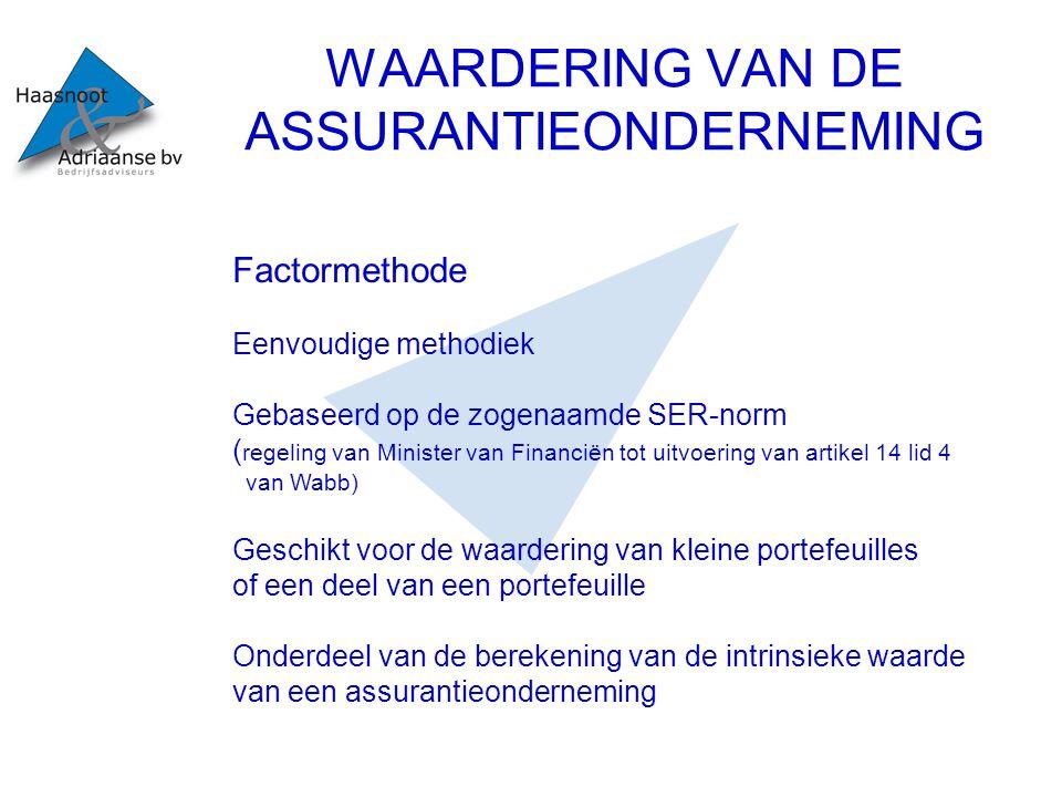 WAARDERING VAN DE ASSURANTIEONDERNEMING Factormethode Eenvoudige methodiek Gebaseerd op de zogenaamde SER-norm ( regeling van Minister van Financiën t