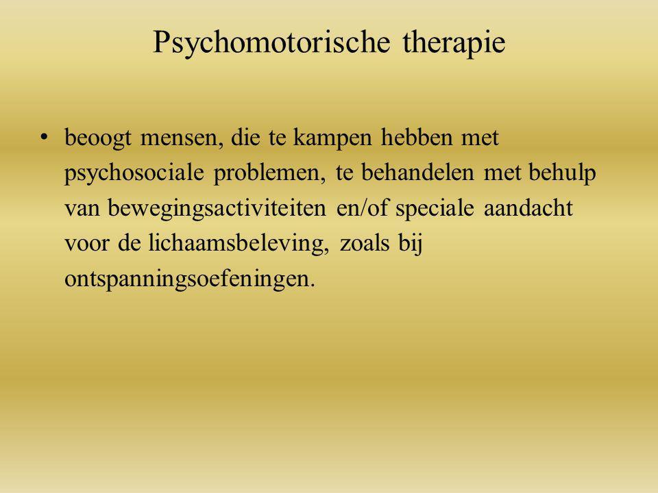 Psychomotorische therapie beoogt mensen, die te kampen hebben met psychosociale problemen, te behandelen met behulp van bewegingsactiviteiten en/of speciale aandacht voor de lichaamsbeleving, zoals bij ontspanningsoefeningen.