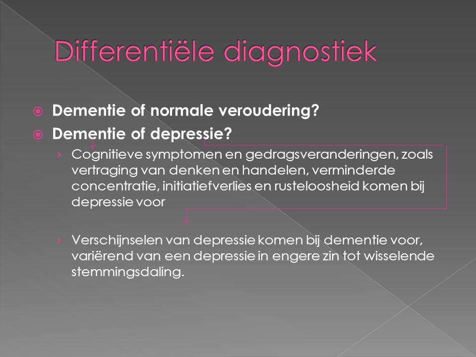  Dementie of normale veroudering?  Dementie of depressie? › Cognitieve symptomen en gedragsveranderingen, zoals vertraging van denken en handelen, v