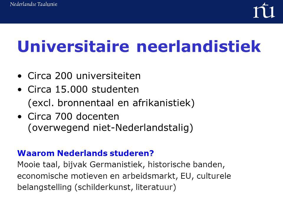 Universitaire neerlandistiek Circa 200 universiteiten Circa 15.000 studenten (excl.