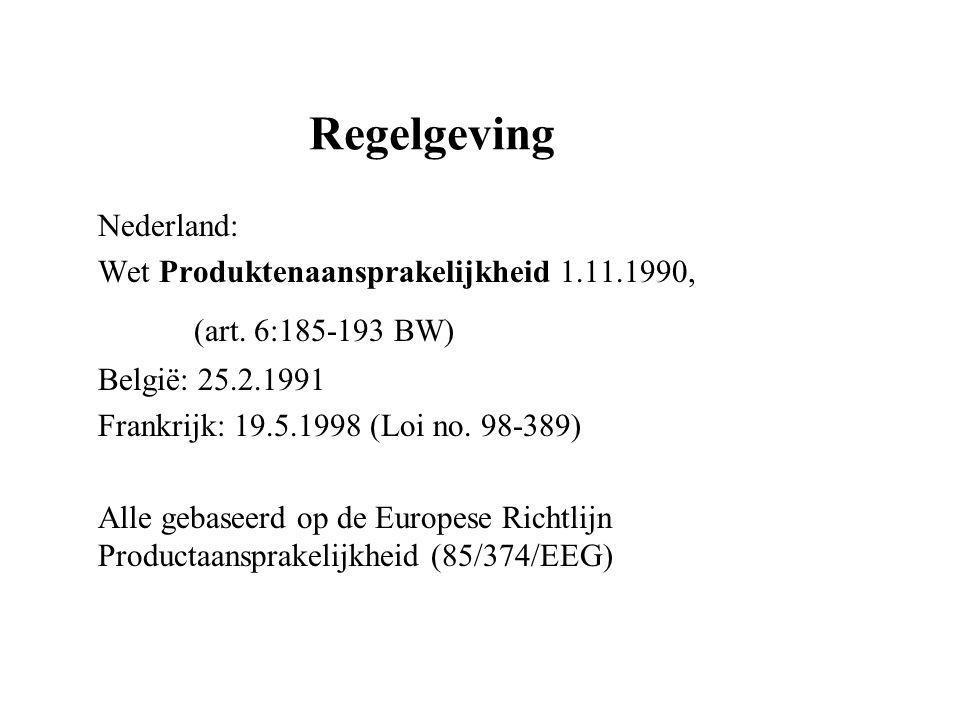Regelgeving Nederland: Wet Produktenaansprakelijkheid 1.11.1990, (art.