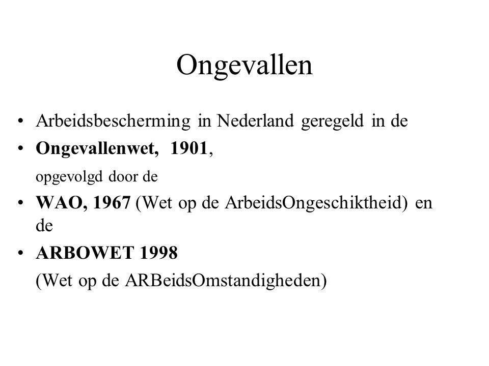 Ongevallen Arbeidsbescherming in Nederland geregeld in de Ongevallenwet, 1901, opgevolgd door de WAO, 1967 (Wet op de ArbeidsOngeschiktheid) en de ARBOWET 1998 (Wet op de ARBeidsOmstandigheden)
