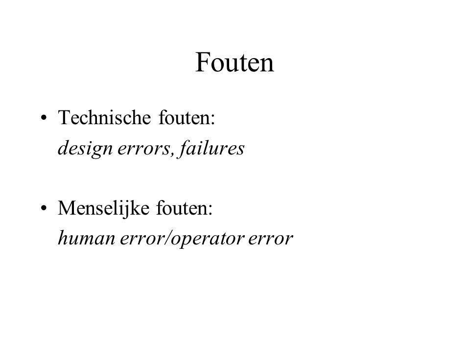 Fouten Technische fouten: design errors, failures Menselijke fouten: human error/operator error