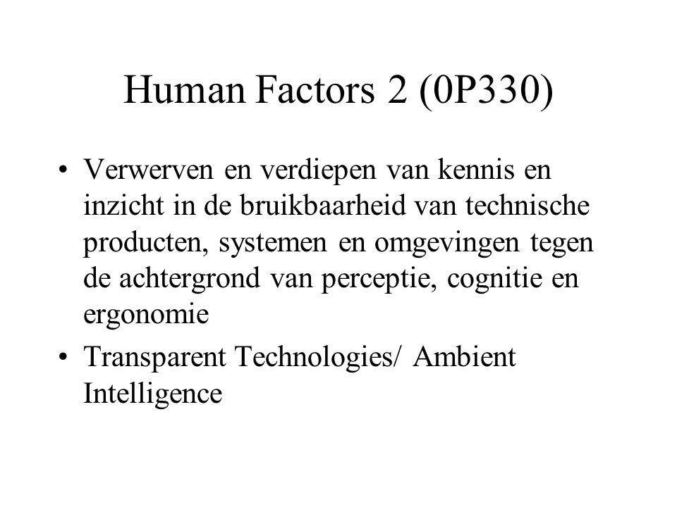 Human Factors 2 (0P330) Verwerven en verdiepen van kennis en inzicht in de bruikbaarheid van technische producten, systemen en omgevingen tegen de achtergrond van perceptie, cognitie en ergonomie Transparent Technologies/ Ambient Intelligence