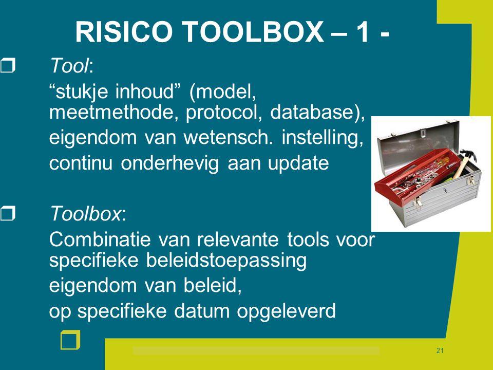 """r 21 RISICO TOOLBOX – 1 -  Tool: """"stukje inhoud"""" (model, meetmethode, protocol, database), eigendom van wetensch. instelling, continu onderhevig aan"""