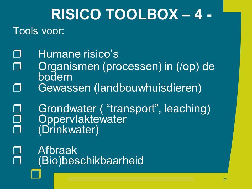 r 24 RISICO TOOLBOX – 4 - Tools voor:  Humane risico's  Organismen (processen) in (/op) de bodem  Gewassen (landbouwhuisdieren)  Grondwater ( transport , leaching)  Oppervlaktewater  (Drinkwater)  Afbraak  (Bio)beschikbaarheid