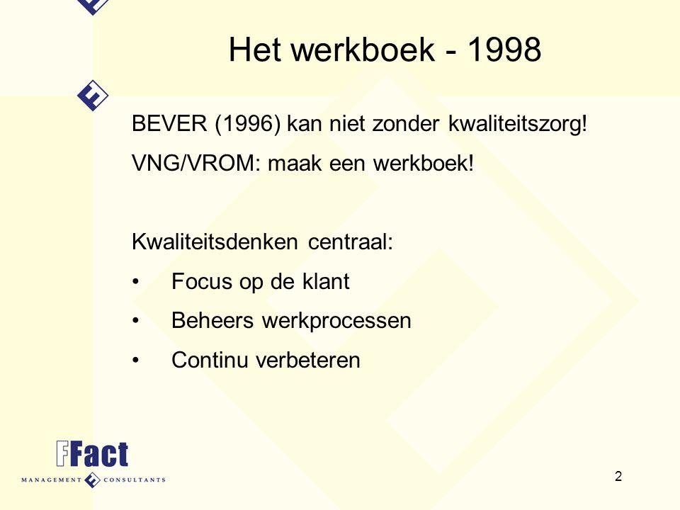 2 Het werkboek - 1998 BEVER (1996) kan niet zonder kwaliteitszorg! VNG/VROM: maak een werkboek! Kwaliteitsdenken centraal: Focus op de klant Beheers w