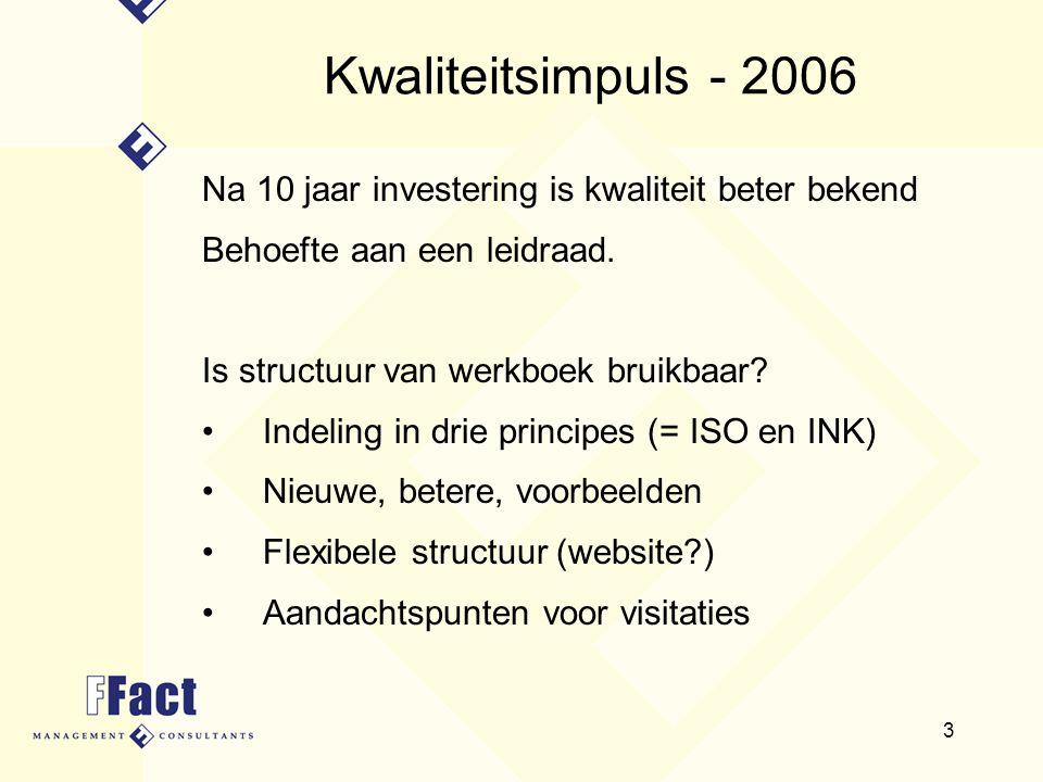 3 Kwaliteitsimpuls - 2006 Na 10 jaar investering is kwaliteit beter bekend Behoefte aan een leidraad. Is structuur van werkboek bruikbaar? Indeling in