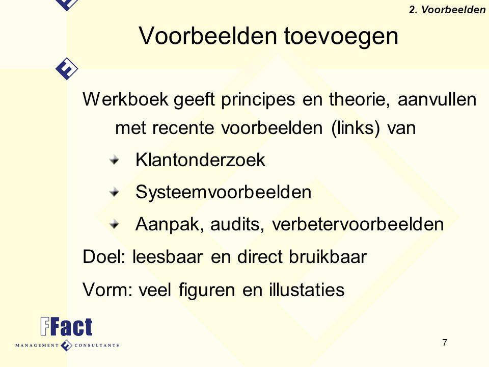 7 Voorbeelden toevoegen Werkboek geeft principes en theorie, aanvullen met recente voorbeelden (links) van Klantonderzoek Systeemvoorbeelden Aanpak, a