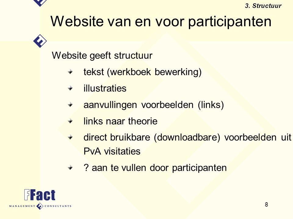 8 Website van en voor participanten Website geeft structuur tekst (werkboek bewerking) illustraties aanvullingen voorbeelden (links) links naar theori