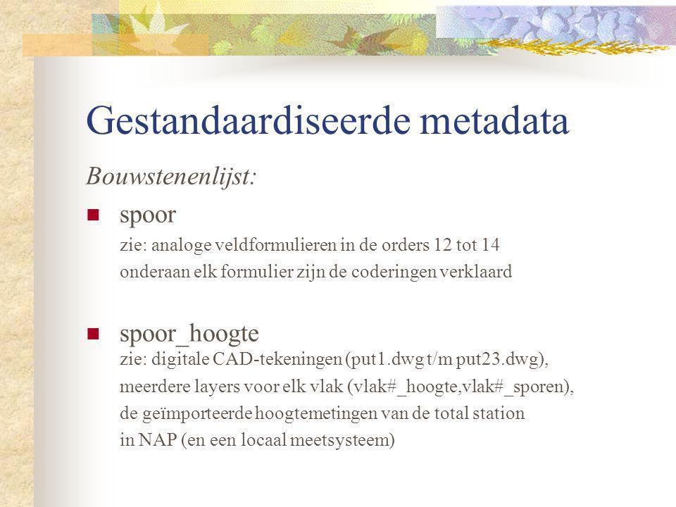 Gestandaardiseerde metadata Bouwstenenlijst: spoor zie: analoge veldformulieren in de orders 12 tot 14 onderaan elk formulier zijn de coderingen verkl