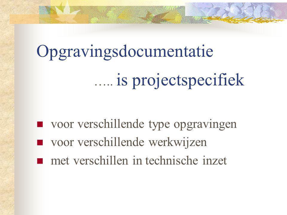 Opgravingsdocumentatie ….. is projectspecifiek voor verschillende type opgravingen voor verschillende werkwijzen met verschillen in technische inzet