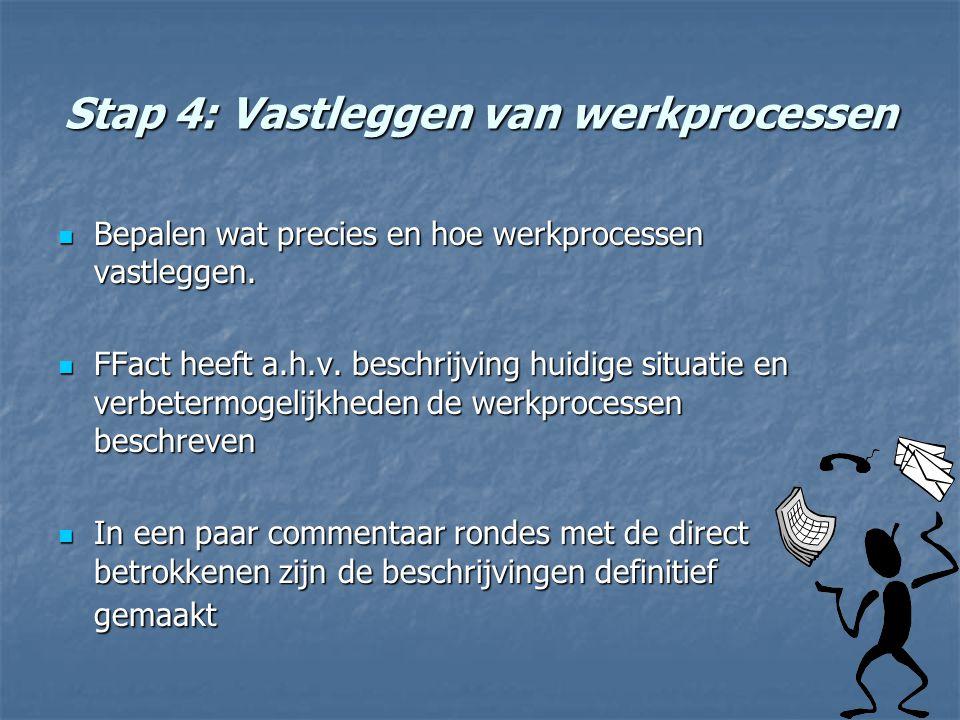 Stap 4: Vastleggen van werkprocessen Bepalen wat precies en hoe werkprocessen vastleggen. Bepalen wat precies en hoe werkprocessen vastleggen. FFact h