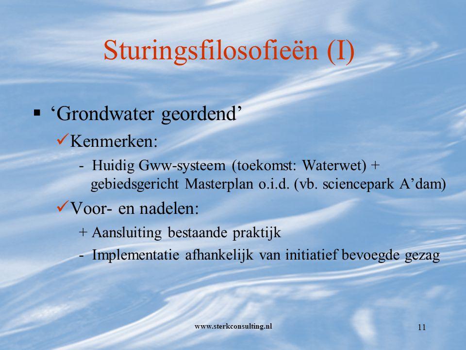 www.sterkconsulting.nl 11 Sturingsfilosofieën (I)  'Grondwater geordend' Kenmerken: - Huidig Gww-systeem (toekomst: Waterwet) + gebiedsgericht Masterplan o.i.d.