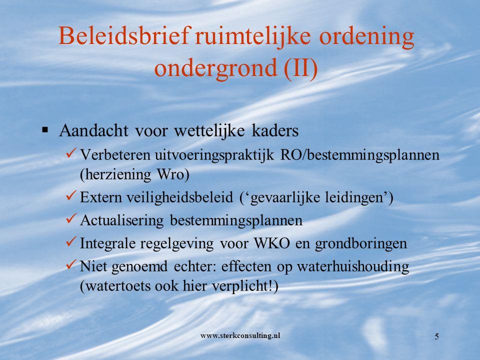 www.sterkconsulting.nl 6 WKO in bestuursrechtelijk perspectief (I)  Relevante regelgeving bij WKO: Grondwaterwet (Gww) Kaderrichtlijn Water (KRW) Wet milieubeheer (Wm) Wet bodembescherming (Wbb) Woningwet (bouwvergunning?) Elektriciteitswet NB: Mijnbouwwet niet van toepassing (> 500 meter )