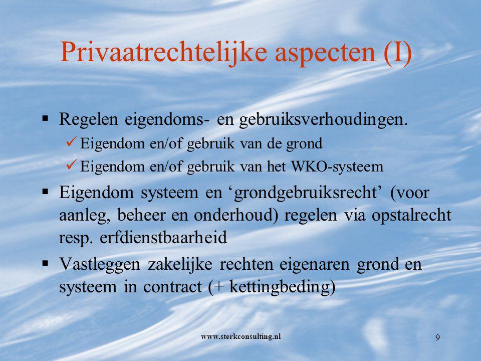 www.sterkconsulting.nl 9 Privaatrechtelijke aspecten (I)  Regelen eigendoms- en gebruiksverhoudingen.
