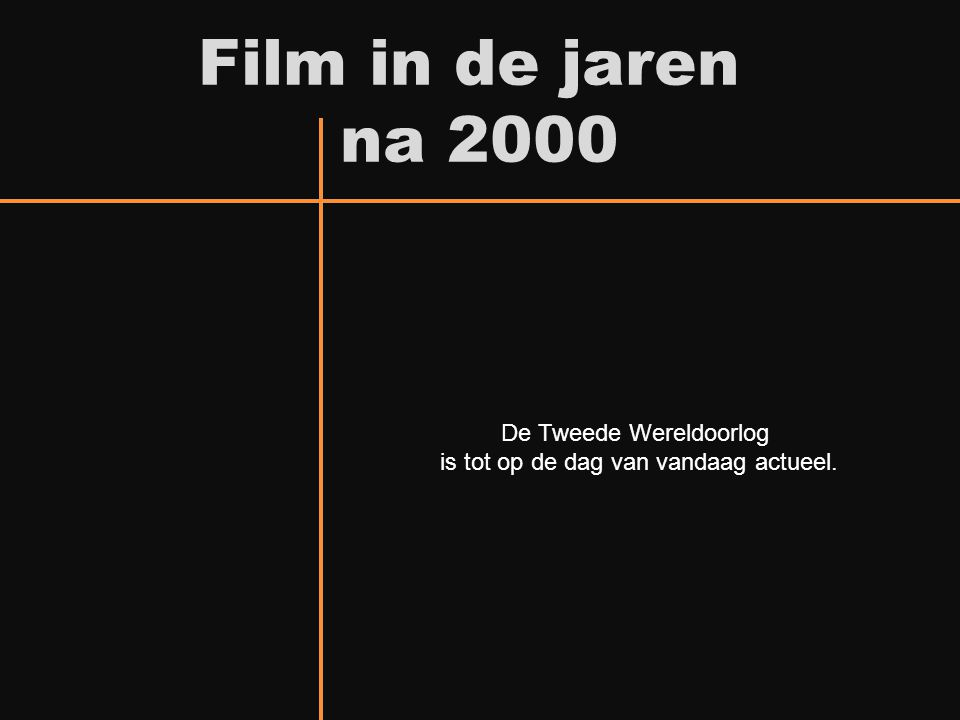 Film in de jaren na 2000 De Tweede Wereldoorlog is tot op de dag van vandaag actueel.