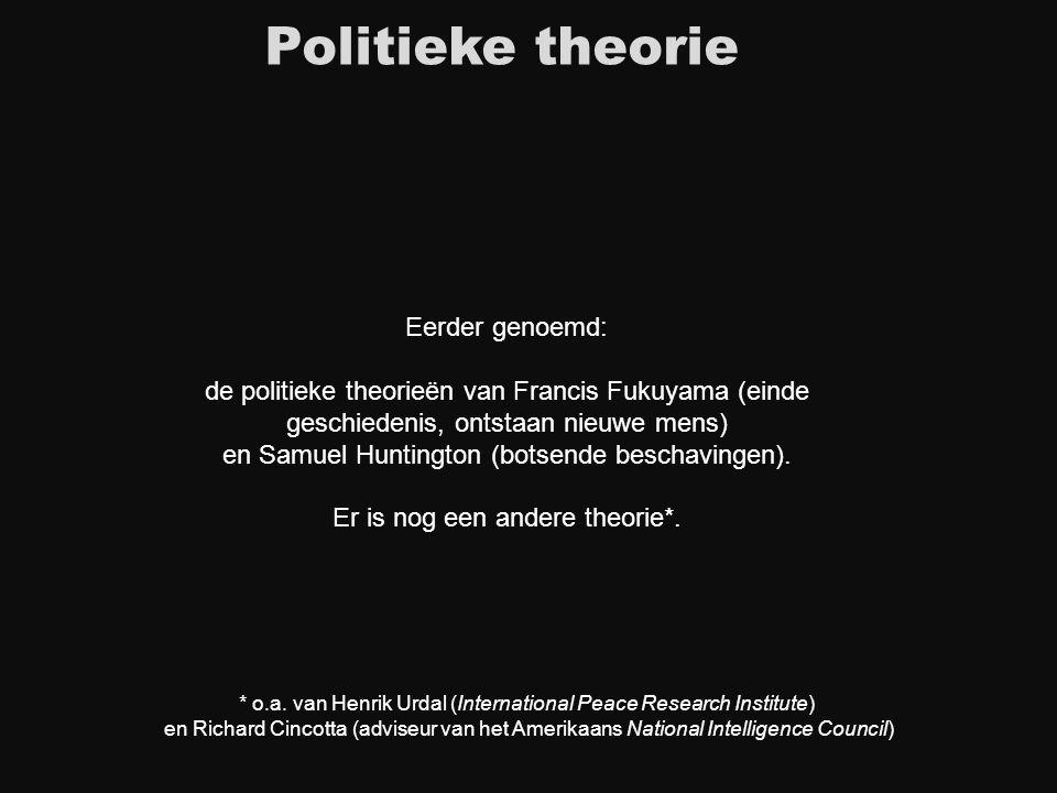 Eerder genoemd: de politieke theorieën van Francis Fukuyama (einde geschiedenis, ontstaan nieuwe mens) en Samuel Huntington (botsende beschavingen). E