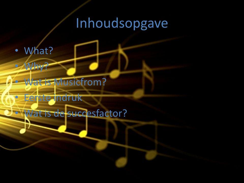 Inhoudsopgave What? Why? Wat is Musicfrom? Eerste indruk Wat is de succesfactor?