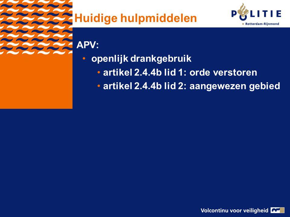 APV: openlijk drankgebruik artikel 2.4.4b lid 1: orde verstoren artikel 2.4.4b lid 2: aangewezen gebied Huidige hulpmiddelen