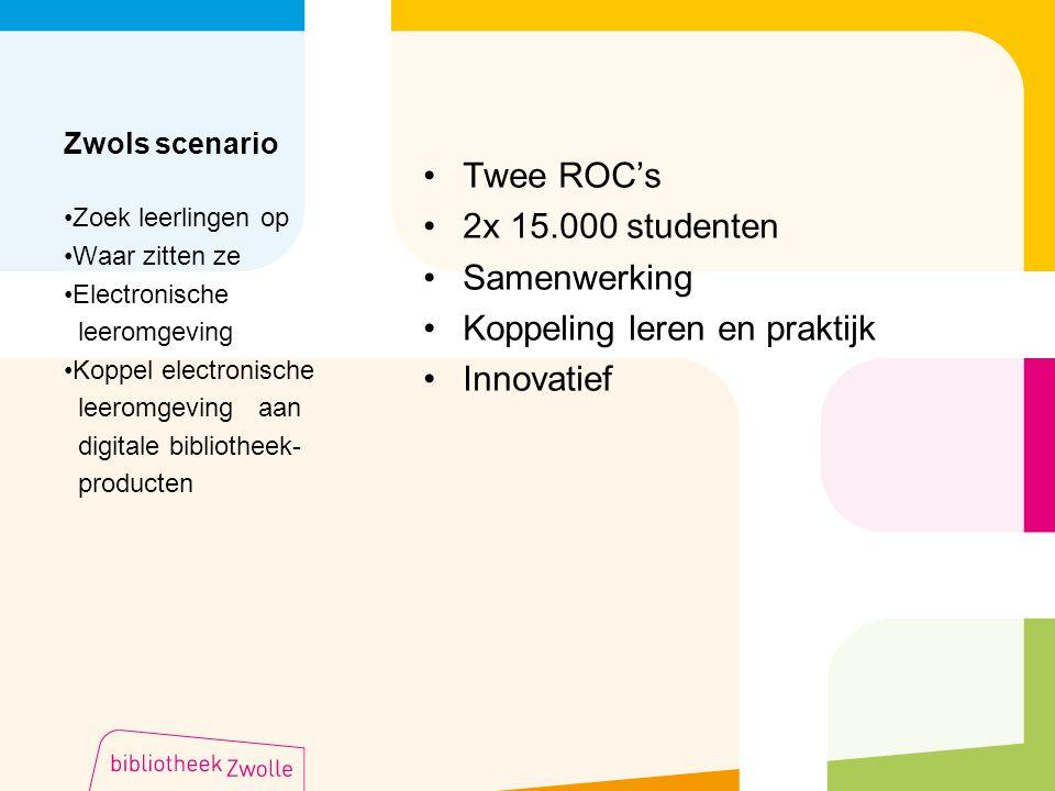 Zwols scenario Twee ROC's 2x 15.000 studenten Samenwerking Koppeling leren en praktijk Innovatief Zoek leerlingen op Waar zitten ze Electronische leer
