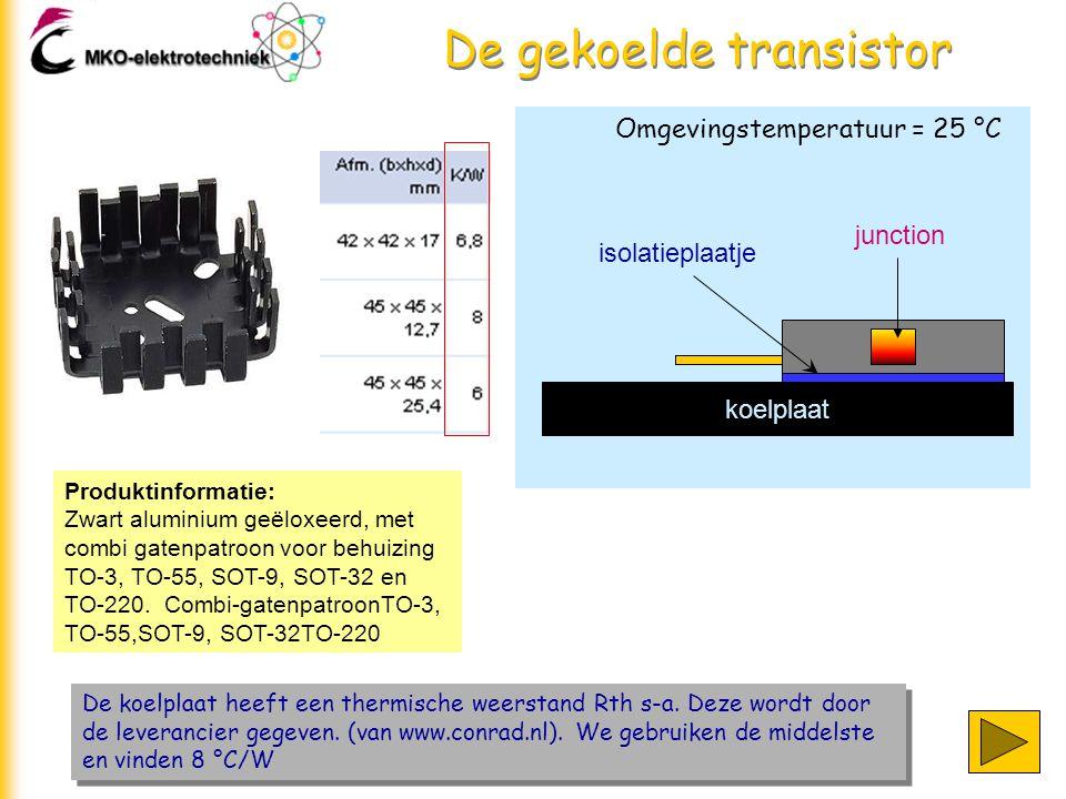 De gekoelde transistor De koelplaat heeft een thermische weerstand Rth s-a. Deze wordt door de leverancier gegeven. (van www.conrad.nl). We gebruiken
