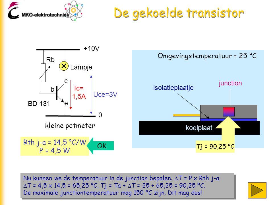 De gekoelde transistor +10V 0 Lampje Rb b c e kleine potmeter Ic= 1,5A Uce=3V BD 131 Nu kunnen we de temperatuur in de junction bepalen.  T = P x Rth
