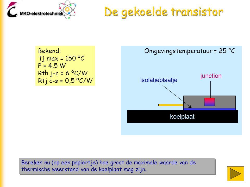 De gekoelde transistor Bereken nu (op een papiertje) hoe groot de maximale waarde van de thermische weerstand van de koelplaat mag zijn. Omgevingstemp