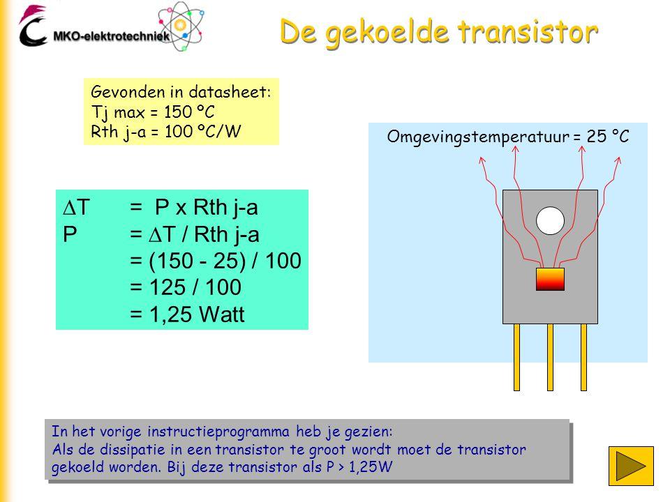 De gekoelde transistor In het vorige instructieprogramma heb je gezien: Als de dissipatie in een transistor te groot wordt moet de transistor gekoeld
