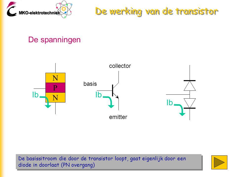 De werking van de transistor De basissitroom die door de transistor loopt, gaat eigenlijk door een diode in doorlaat (PN overgang) De spanningen N P N