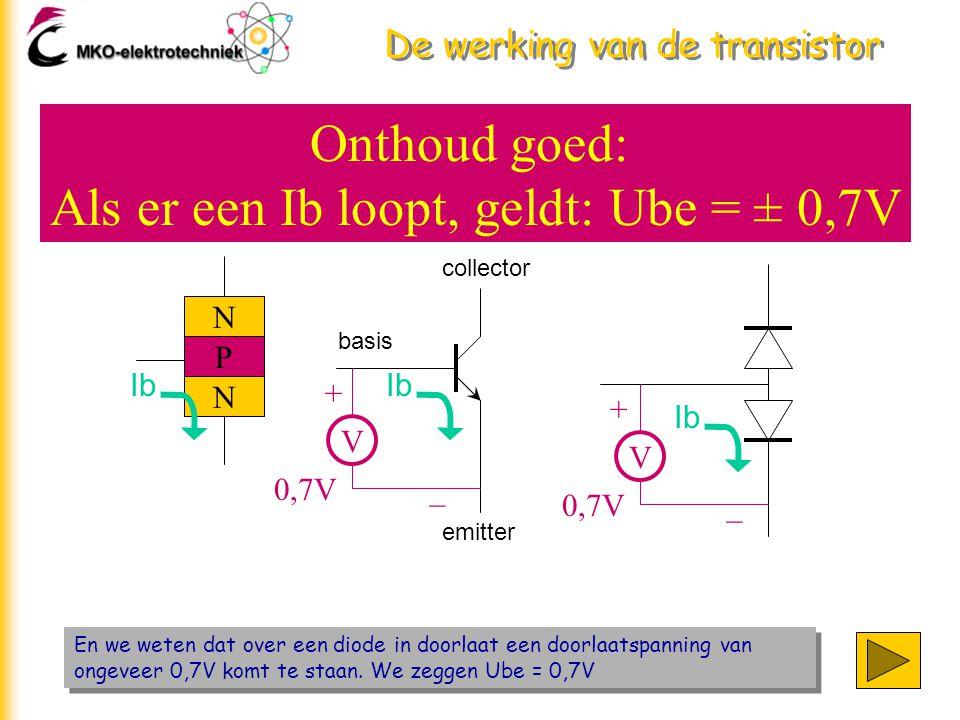 De werking van de transistor En we weten dat over een diode in doorlaat een doorlaatspanning van ongeveer 0,7V komt te staan. We zeggen Ube = 0,7V De