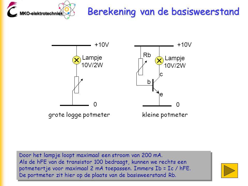 Berekening van de basisweerstand Door het lampje loopt maximaal een stroom van 200 mA. Als de hFE van de transistor 100 bedraagt, kunnen we rechts een