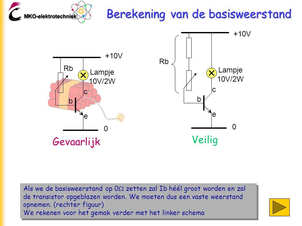 Berekening van de basisweerstand Als we de basisweerstand op 0  zetten zal Ib héél groot worden en zal de transistor opgeblazen worden. We moeten dus