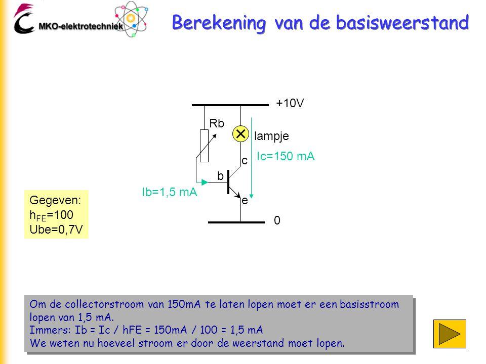 Berekening van de basisweerstand Om de collectorstroom van 150mA te laten lopen moet er een basisstroom lopen van 1,5 mA. Immers: Ib = Ic / hFE = 150m
