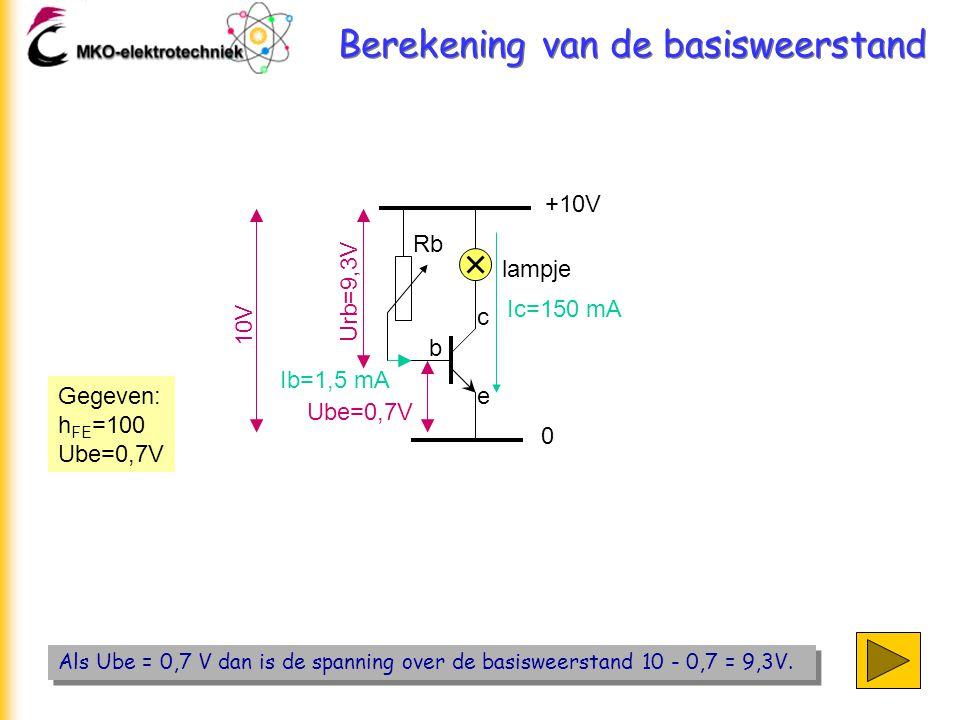 Berekening van de basisweerstand Als Ube = 0,7 V dan is de spanning over de basisweerstand 10 - 0,7 = 9,3V. +10V 0 lampje Rb b c e Ic=150 mA Gegeven: