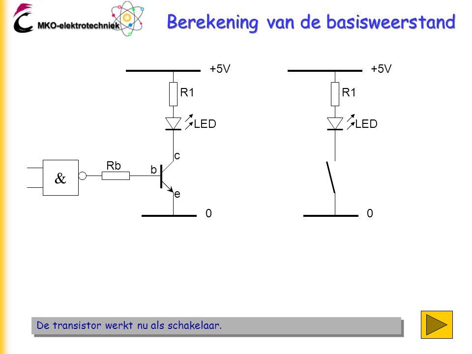 Berekening van de basisweerstand De transistor werkt nu als schakelaar. +5V 0 b c e R1 LED & Rb +5V 0 R1 LED