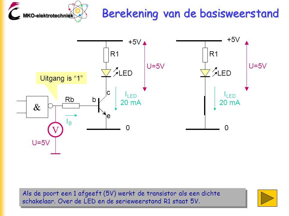 Berekening van de basisweerstand Als de poort een 1 afgeeft (5V) werkt de transistor als een dichte schakelaar. Over de LED en de serieweerstand R1 st