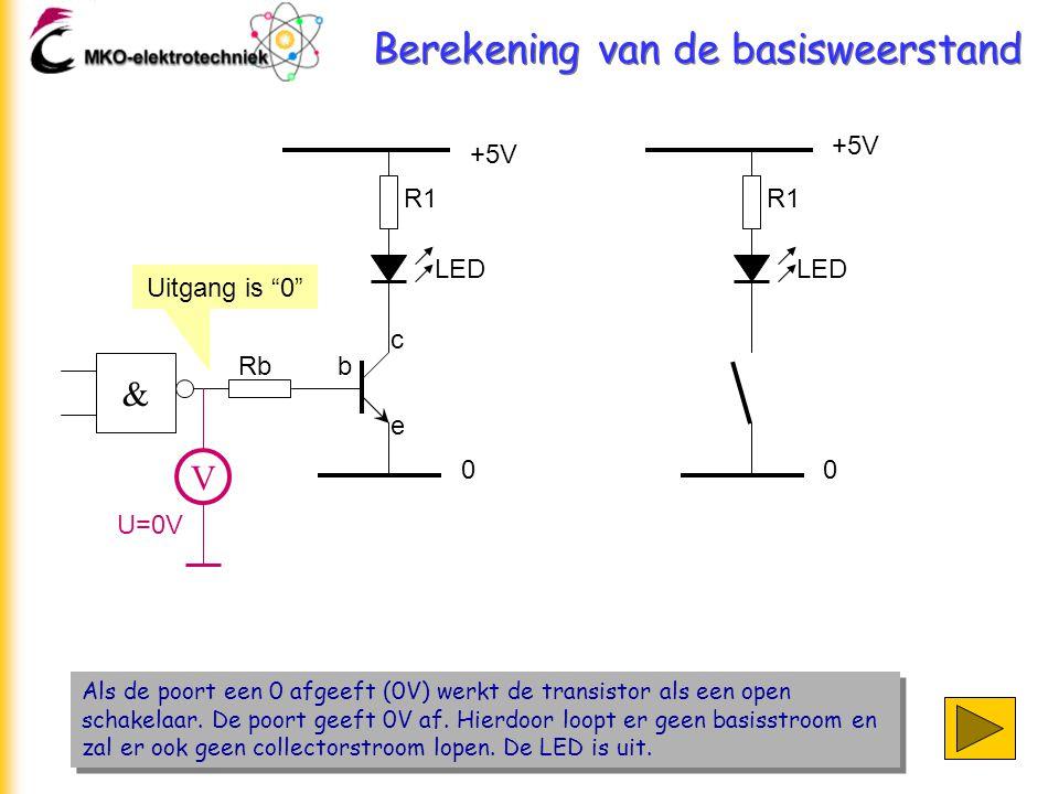 Berekening van de basisweerstand Als de poort een 0 afgeeft (0V) werkt de transistor als een open schakelaar. De poort geeft 0V af. Hierdoor loopt er