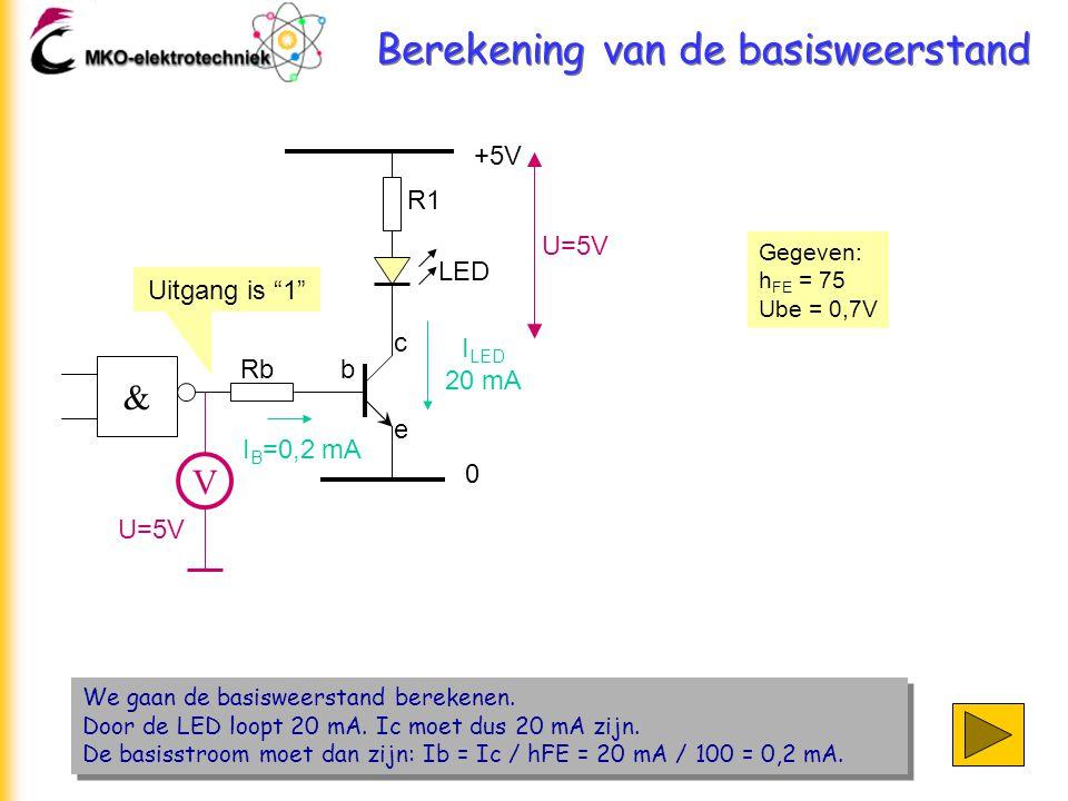 Berekening van de basisweerstand We gaan de basisweerstand berekenen. Door de LED loopt 20 mA. Ic moet dus 20 mA zijn. De basisstroom moet dan zijn: I