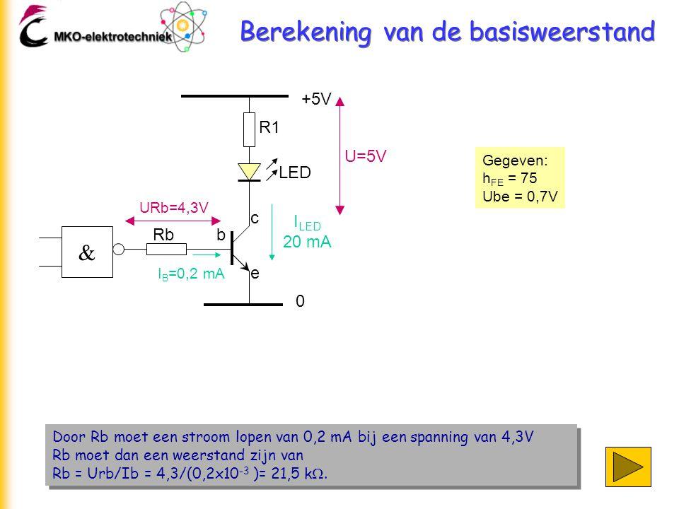 Berekening van de basisweerstand Door Rb moet een stroom lopen van 0,2 mA bij een spanning van 4,3V Rb moet dan een weerstand zijn van Rb = Urb/Ib = 4