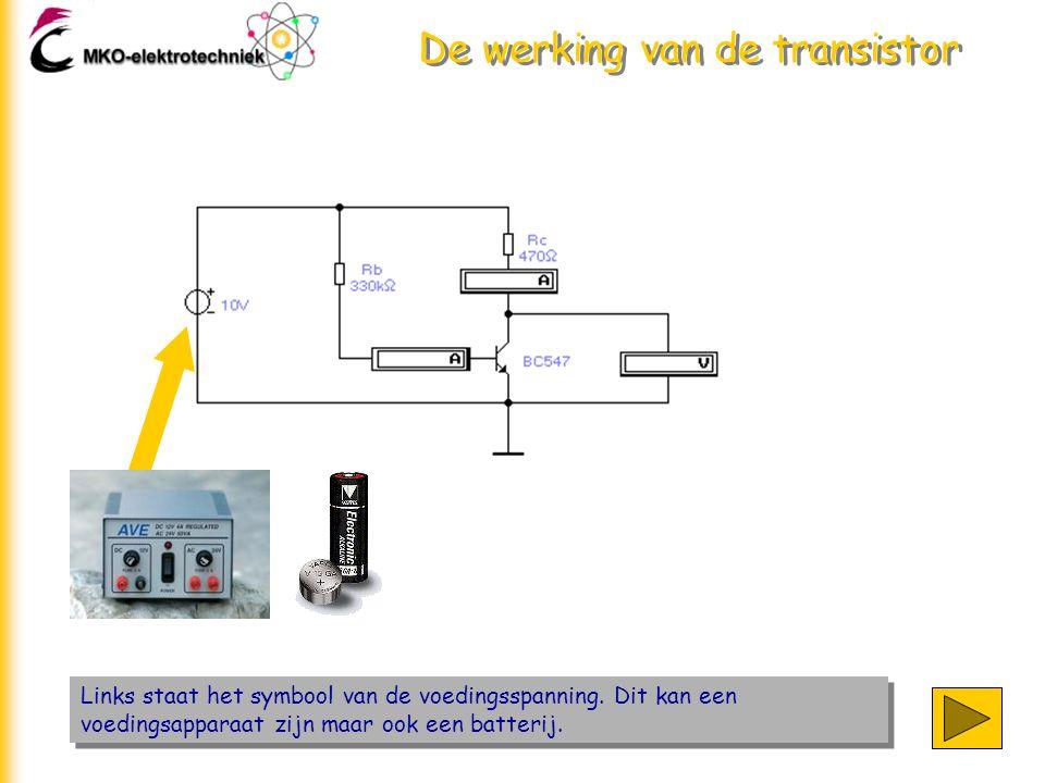 De werking van de transistor Links staat het symbool van de voedingsspanning. Dit kan een voedingsapparaat zijn maar ook een batterij.