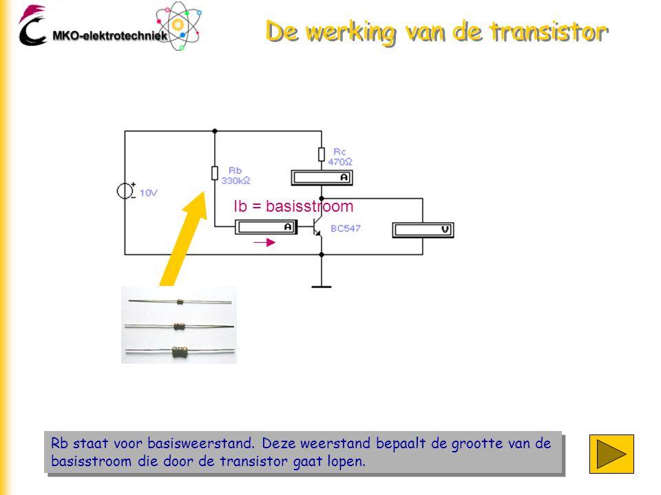 De werking van de transistor Rb staat voor basisweerstand. Deze weerstand bepaalt de grootte van de basisstroom die door de transistor gaat lopen. Ib