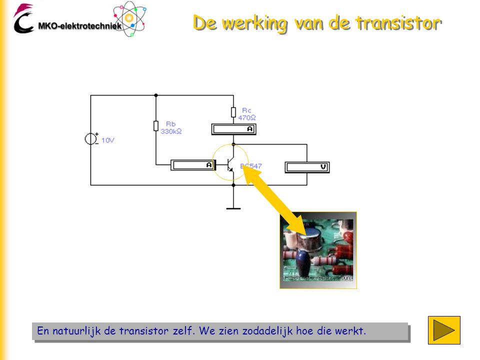 De werking van de transistor De rechthoekige symolen zijn meetinstrumenten die komen uit het simulatieprogramma EWB.