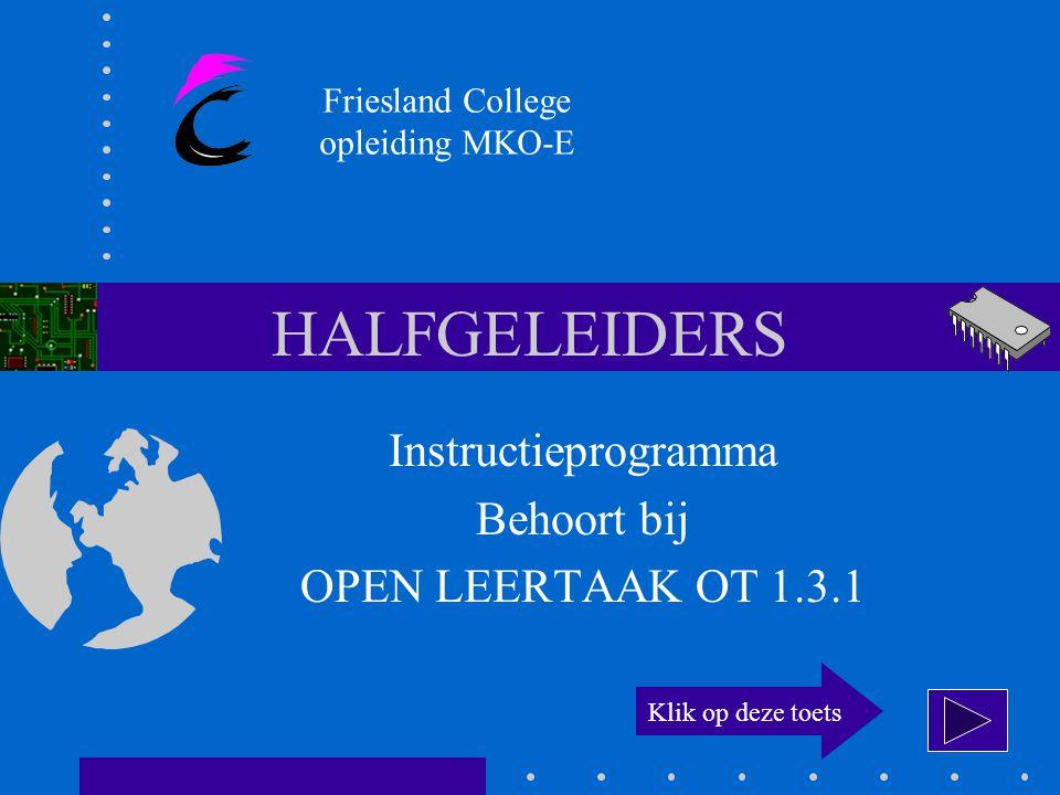 HALFGELEIDERS Instructieprogramma Behoort bij OPEN LEERTAAK OT 1.3.1 Friesland College opleiding MKO-E Klik op deze toets