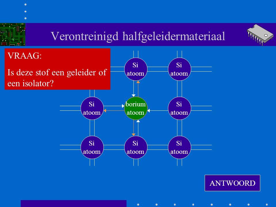 Verontreinigd halfgeleidermateriaal borium atoom Si atoom Si atoom Si atoom Si atoom Si atoom Si atoom Si atoom Si atoom ANTWOORD VRAAG: Is deze stof een geleider of een isolator?