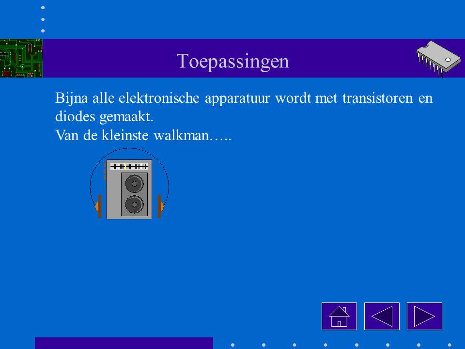 Toepassingen Bijna alle elektronische apparatuur wordt met transistoren en diodes gemaakt.